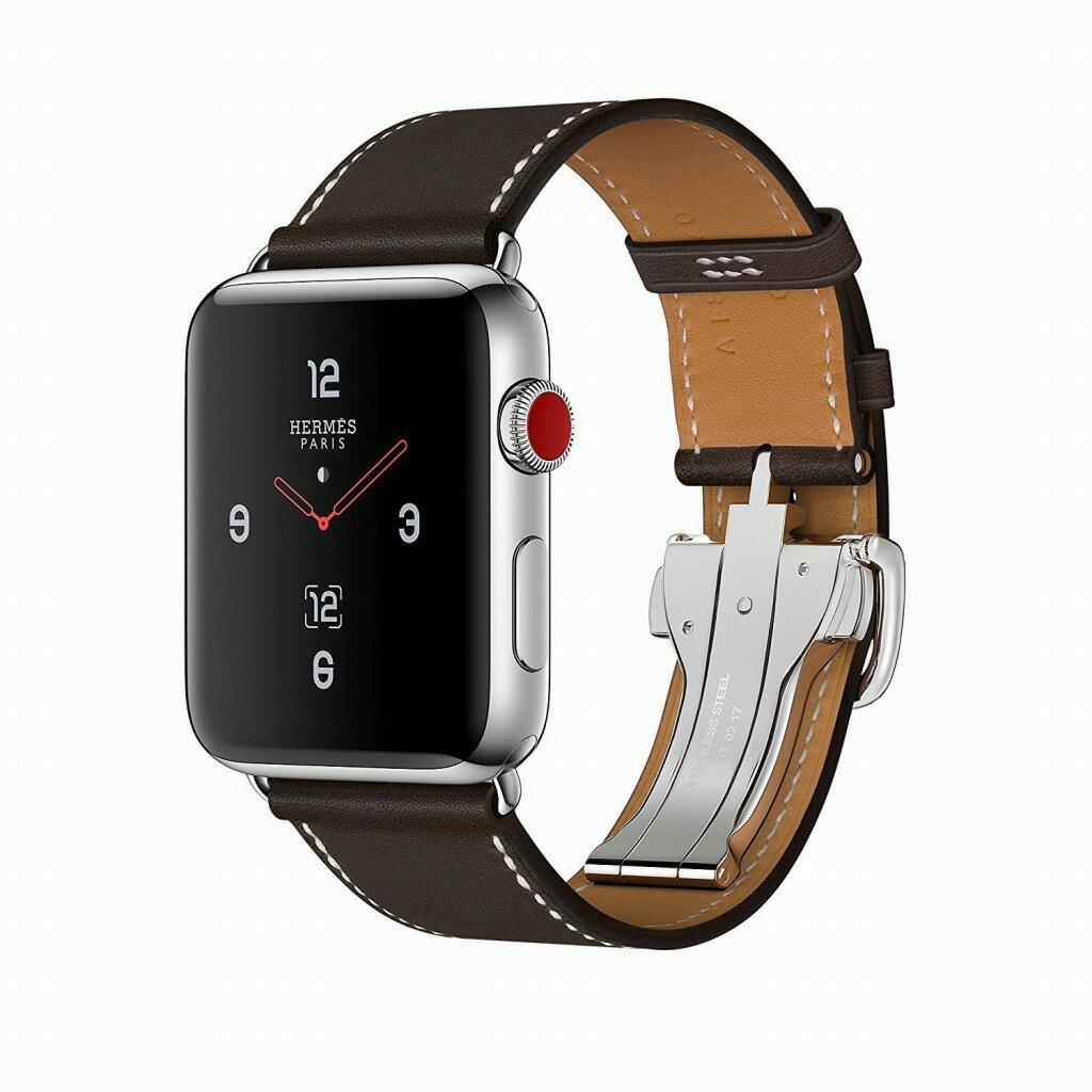 Apple Watch Hermes ステンレススチールケースとヴォー・バレニア(エベンヌ)シンプルトゥールディプロイアントバックルレザーストラップ GPS + Cellularモデル Series3 アップルウォッチ エルメス 本体 シリーズ3