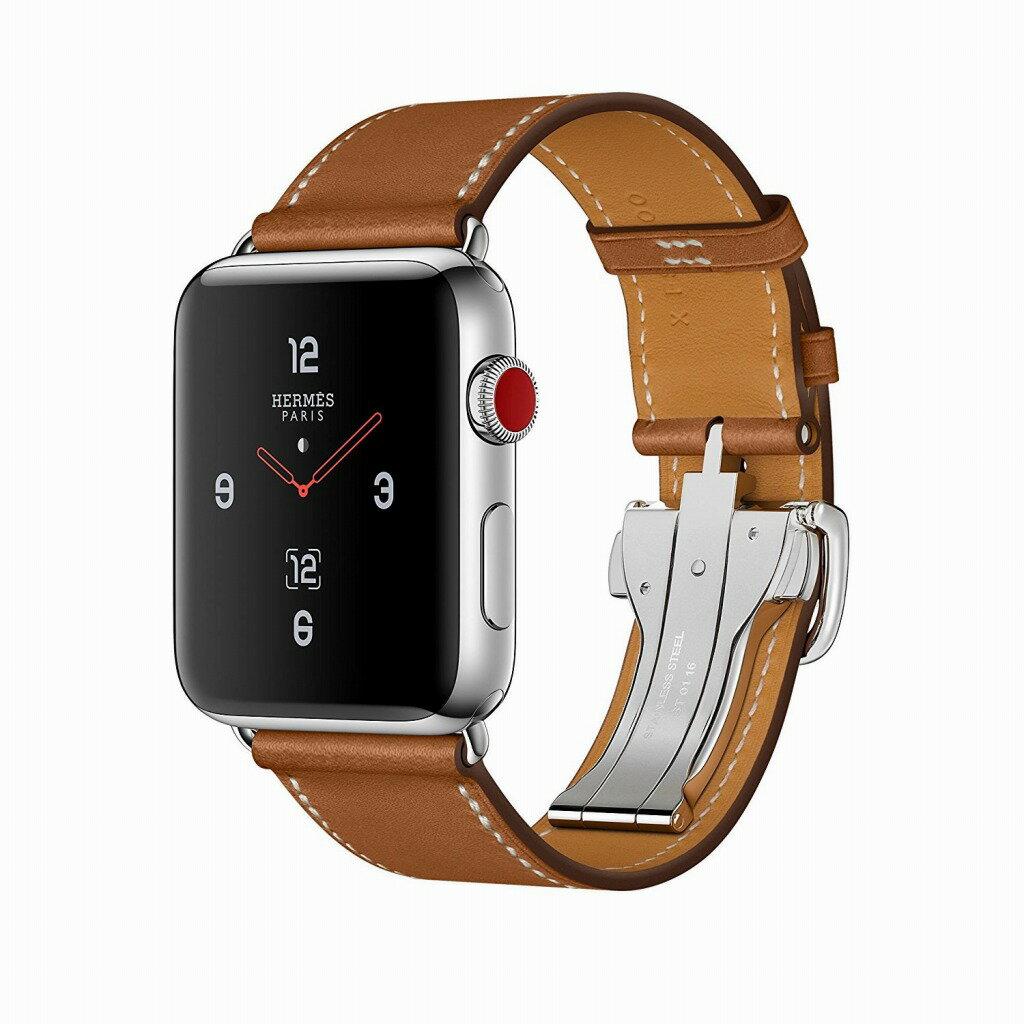 Apple Watch Hermes ステンレススチールケースとヴォー・バレニア(フォーヴ)シンプルトゥールディプロイアントバックルレザーストラップ GPS + Cellularモデル Series3 アップルウォッチ エルメス 本体 シリーズ3