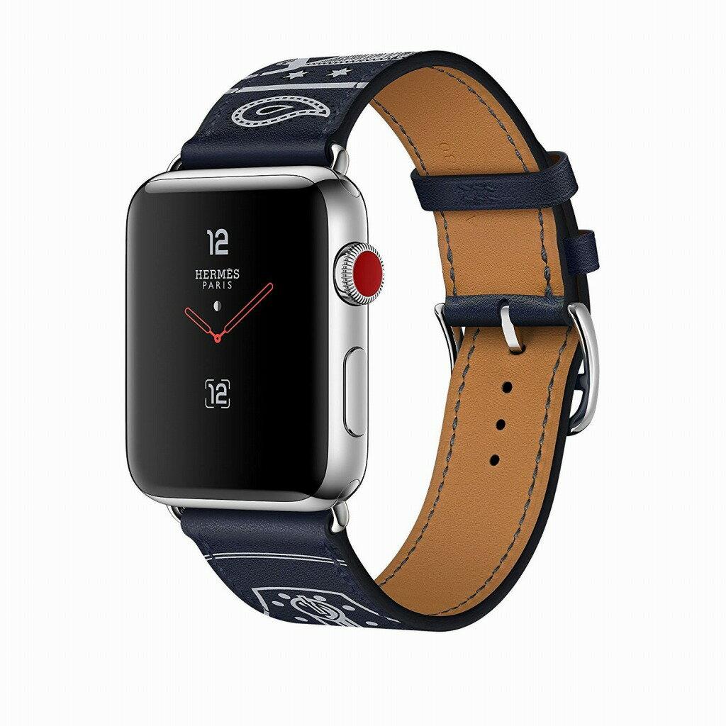Apple Watch Hermes ステンレススチールケースとヴォー・ガラ(マリン)シンプルトゥールエプロン・ドールレザーストラップ GPS + Cellularモデル Series3 アップルウォッチ エルメス 本体 シリーズ3