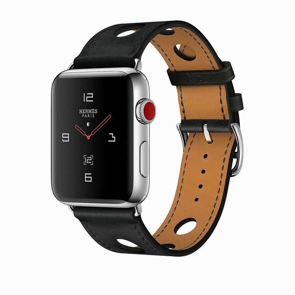 Apple Watch Hermes ステンレススチールケースとヴォー・ガラ(黒)シンプルトゥールラリーレザーストラップ GPS + Cellularモデル Series3 アップルウォッチ エルメス 本体 シリーズ3