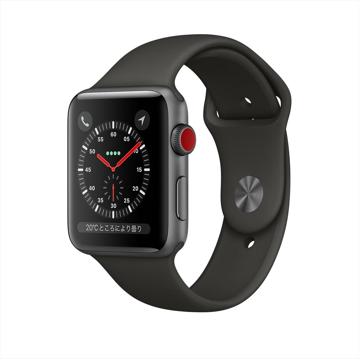 [エントリーでポイント10倍以上&最大2000円引クーポン]アップルウォッチ 本体 Apple Watch Series 3 42mm スペースグレイアルミニウムケースとブラックスポーツバンド シリーズ3 (GPS + Cellularモデル)MQKN2J/A