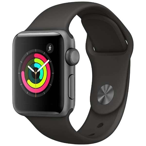 アップルウォッチ 本体 Apple Watch Series 3 38mm スペースグレイアルミニウムケースとブラックスポーツバンド シリーズ3 (GPSモデル)