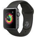 アップルウォッチ 本体 Apple Watch Series 3 42mm スペースグレイアルミニウムケースとブラックスポーツバンド シリーズ3 (GPSモデル)..