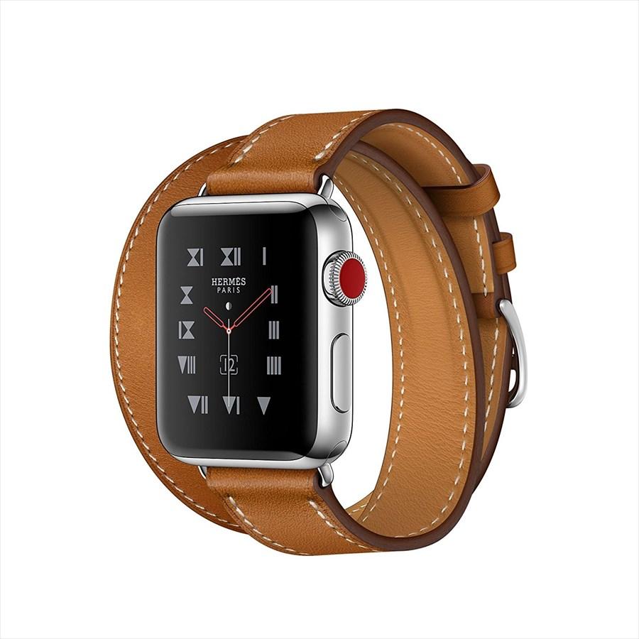 Apple Watch Hermes ステンレススチールケースとヴォー・バレニア(フォーヴ)ドゥブルトゥールレザーストラップ GPS + Cellularモデル Series3 アップルウォッチ エルメス 本体 シリーズ3