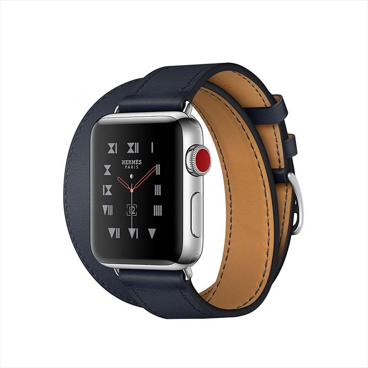 Apple Watch Hermes ステンレススチールケースとヴォー・スウィフト(インディゴ)ドゥブルトゥールレザーストラップ GPS + Cellularモデル Series3 アップルウォッチ エルメス 本体 シリーズ3