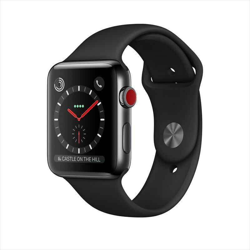 [エントリーでポイント10倍以上&最大2000円引クーポン]アップルウォッチ 本体 Apple Watch Series 3 42mm スペースブラックステンレススチールケースとブラックスポーツバンド シリーズ3 (GPS + Cellularモデル)MQM02J/A MQM02JA