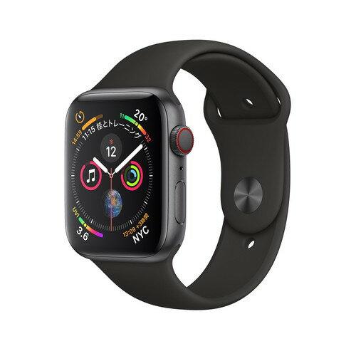 Apple Watch Series 4(GPS+Cellular)44mm スペースグレイアルミニウムケース とブラックスポーツバンド[アップルウォッチ シリーズ4]MTVU2J/A MTVU2JA