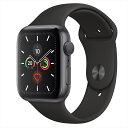 Apple Watch Series 5(GPSモデル)44mmスペースグレイアルミニウムケースとブラックスポーツバンド S/M & M/L MWVF2J/A アップルウォッ..