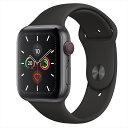 Apple Watch Series 5(GPS + Cellularモデル)44mmスペースグレイアルミニウムケースとブラックスポーツバンド S/M & M/L MWWE2J/A アッ..