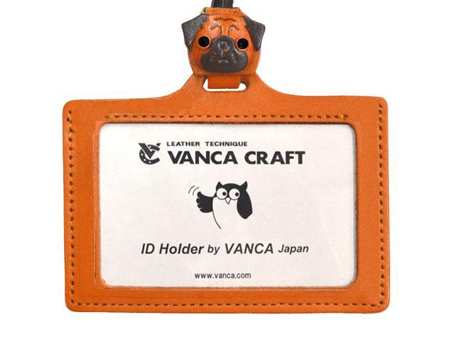 パグ IDカードケース/カードホルダー【レザー 本革 VANCA バンカクラフト革物語 国産 ハンドメイド 贈り物 即納】