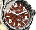 ブランド 腕時計 自動巻腕時計 オートマティック シーレーン機械式腕時計の鼓動を垣間見る事が出来るシースルーバック採用ブラウンレザーベルト 送料無料