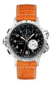 HAMILTON 「カーキ ETO」 ハミルトン ETO クロノグラフ腕時計 H77612933 クオーツ メンズウォッチ ブラック文字盤 オレンジ レザーベルト 送料無料