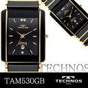 テクノス メンズウォッチ 人気のブラックゴールド 腕時計
