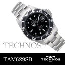 Watch dot &amp; bar index black bezel TAM629SB mounted with TECHNOS  turn bezel is free shipping