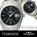 TECHNOS techno Susa fire glass use men watch divers watch silver X black TGM656SB free shipping