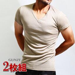 GUNZE(グンゼ)YG ベージュインナーtシャツ 2枚組み Vネック 2枚セット ベージュ 肌着 メンズ YV0115 半袖 Yシャツ tシャツ カッターシャツ ベージュインナー メンズインナー アンダーウエア グンゼYG シャツ