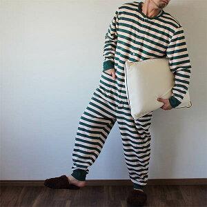パジャマ ボーダー グリーン オールインワン
