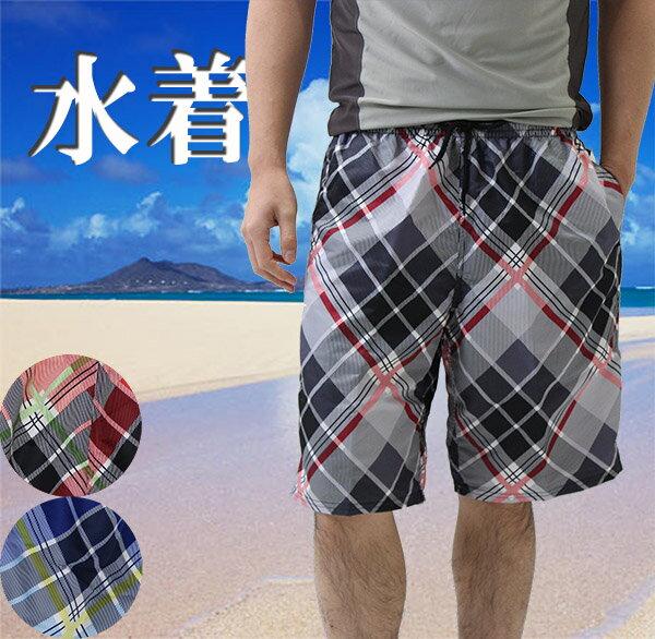 メンズ男性用の水着サーフパンツ海パン(バイヤスチェック柄)