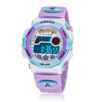OHSEN 腕時計 パープル 子供 LED デジタル スポーツ アラーム 日付曜日 多機能ウォッチ f0510-160a[メール便発送、送料無料、代引不可][時計][ギフト]【YDKG-kd】【smtb-KD】