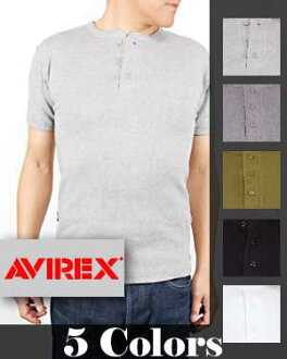 AVIREX-avirex T shirts DAILY PACK HENLEY S/S T-SHIRTS Henry short sleeve solid color T shirt 618364 store Bali mens (Rakuten) (shopping and Rakuten) fs3gm10P28oct13