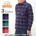 アイアンハート IRON HEART IHSH-127[aa]ブロックチェック ヘビーフランネル ウエスタンシャツ メンズ 男性 バイク ハーレー