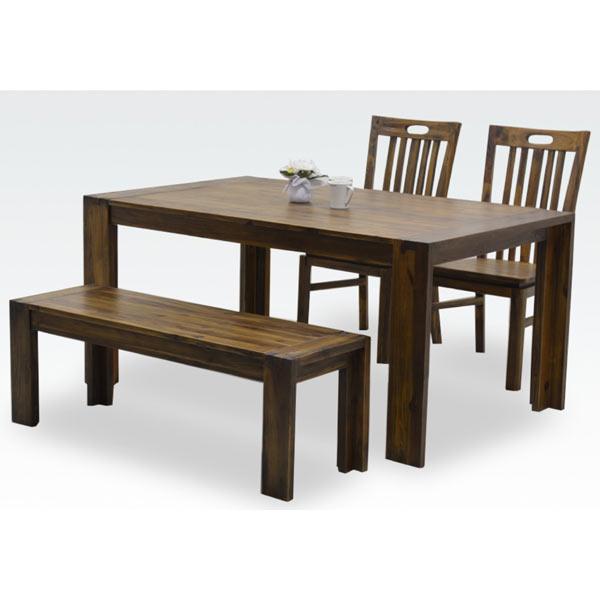 ダイニングテーブルセット ダイニングセット ベンチ ベンチ付き 4点セット アジアン アンティーク調 古木風 ダメージ加工 食卓セット 食卓テーブルセット 4人掛け 送料無料 楽天 通販