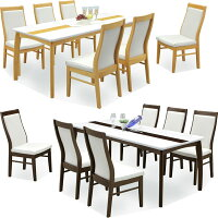 ダイニングテーブルセット7点セット6人用鏡面ホワイト木製