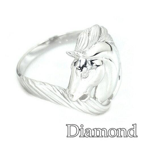 アニマルモチーフリング ダイヤモンド ホワイトゴールド ホース 馬 リング HK225 動物をモチーフにした指輪♪価格の適正さ