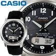カシオ ウェーブセプター M630B メンズ ブラック 合成皮革/クロスバンド マルチバンド6 ソーラー電波時計 CASIO Wave Ceptor