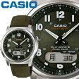 カシオ ウェーブセプター M630B メンズ グリーン 合成皮革/クロスバンド マルチバンド6 ソーラー電波時計 CASIO Wave Ceptor