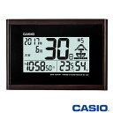 カシオ ウェーブセプター 壁掛け電波時計 120J (濃茶) 自立スタンド付き 湿度計/温度計付き ◆2014年モデル