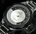 上質なセラミック&ステンレス素材使用♪鑑別書付き4Pダイヤモンド腕時計!【J.HARRISON】レディース ダイヤモンド腕時計 JH-CCL001