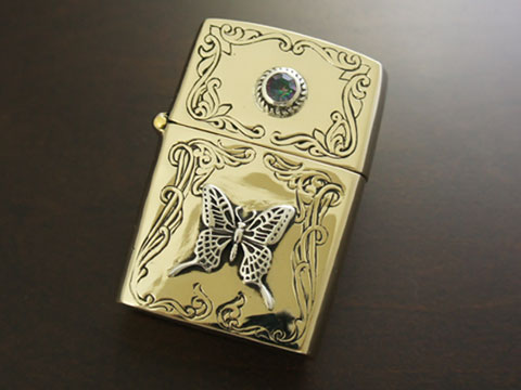 【good vibrations】【バタフライ】 Brass/Silver925/Copper/ミスティッククォーツ ZIPPO オイルライター 【送料無料】【愛らしいです】