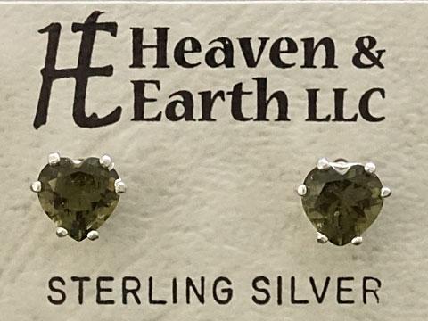 【Heaven&Earth社】【モルダバイト/ハート6mm】 Silver925 ピアス 【送料無料】