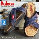【Bobson ボブソン】サンダル メンズ クロスサンダル コンフォートサンダル デニム クロスベルト フラットサンダル ビーチサンダル 大人 防滑 軽量 屈曲 靴 メンズシューズ/【あす楽対応】2021 秋新作 トレンド
