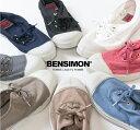 BENSIMON ベンシモン コットンレースアップスニーカー...