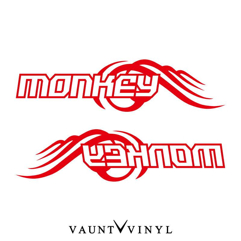 MONKEY モンキー カッティング ステッカー 左右セット バイク ステッカーボム ステッカー デカール シール カスタム / ヘルメット サイドバッグ リアボックス / ウイング 羽 翼 風 / パーツ マフラー シート タンク honda ホンダ / 10P05Aug17