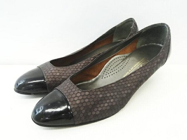 NOVUS 総柄 切替 パンプス ローヒール シューズ 靴 サイズ35 2/1 黒×紫 レディース 【中古】【ベクトル 古着】 170628 ベクトル マークスラッシュ