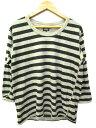 ブラックサイン BLACK SIGN Tシャツ カットソー ボーダー 七分袖 コットン 42 グレー 黒 ブラック Y71745 メンズ 【...