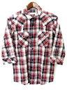 メンズビギ MEN'S BIGI シャツ カジュアル チェック 七分袖 赤 ネイビー /DF960 メンズ 【ベクトル 古着】【中古】 160805