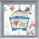 ドッグウッド ガーデン8 フラワーアート リサ オーディット LA-06012 36.5x36.5cm ギフト 鳥 絵画 額付きポスターインテリア 取寄品