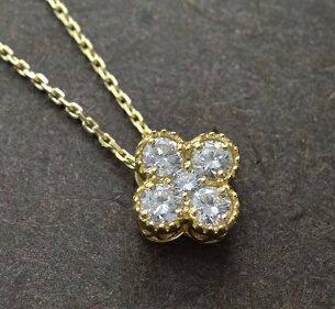 ダイヤモンド フラワー ペンダント ゴールド ダイアモンド モチーフ ネックレス レディース