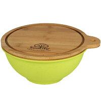 エコソーライフ Eco SouLife Salad Bowl with Bamboo Wood Cutting Board (M) Lime [サラダボウル][バンブーウッドカッティングボード付き][Bambooシリーズ]の画像