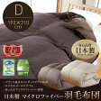 【送料無料】【B】【TD】フランス産ホワイトダックダウン90%使用 日本製マイクロファイバー羽毛布団 ダブル ブラウン 49660306【羽毛 ふとん 羽毛布団 掛け布団】