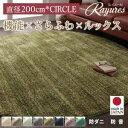 ラグマット 直径200cm(円形)【rayures】アイボリー さらふわ国産ミックスシャギーラグ【rayures】レイユール【代引不可】