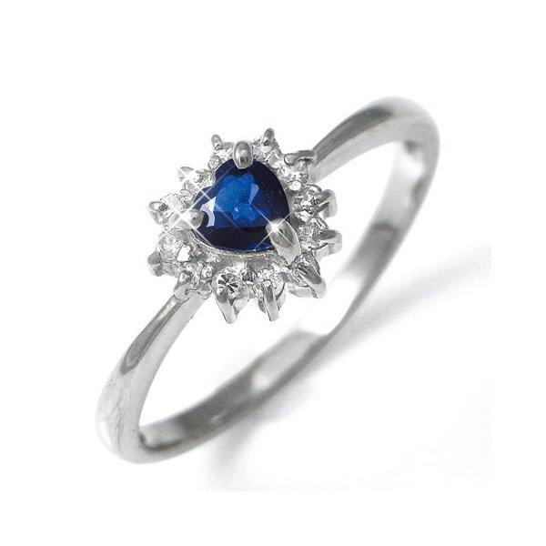 Pt100 ハートサファイア&ダイヤリング 指輪パヴェリング 17号  送料無料! 女性なら誰しも心惹かれるハートリングの登場です!!