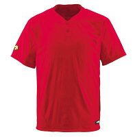 デサント(DESCENTE) ベースボールシャツ(2ボタン) (野球) DB201 レッド XO 送料込!の画像