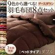 布団8点セット ダブル モカブラウン 9色から選べる!羽毛布団 グースタイプ 8点セット ベッドタイプ 送料込!
