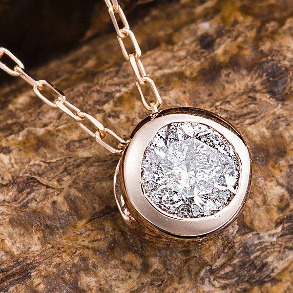【ポイント2倍】K18PG 0.15ctダイヤモンドフクリンペンダント 送料無料! K18ピンクゴールド 0.1ctダイヤ フクリンネックレス