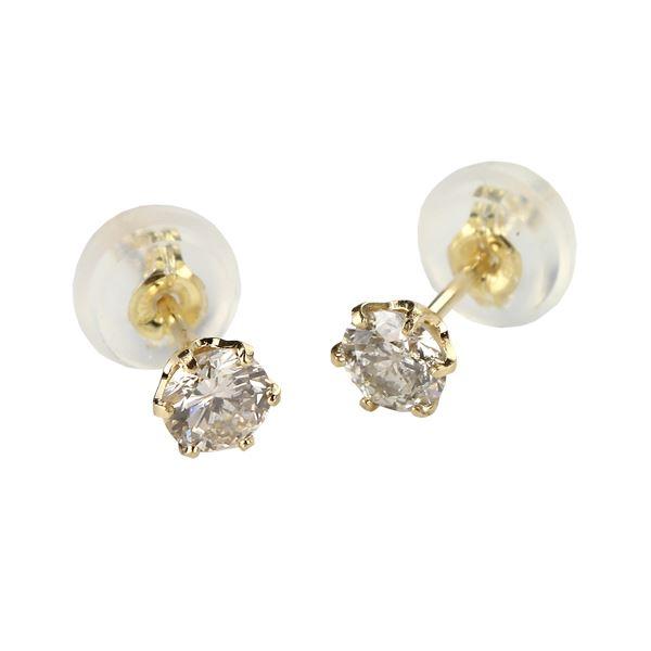 【ポイント2倍】ダイヤモンドピアス 一粒 K18 イエローゴールド 0.3ct スタッドピアス 送料無料! 天然のダイヤモンドは厳選した素材と輝き